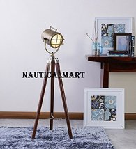 Vintage Home Decor Brass Finish Tripod Floor Lamp Search Light By NauticalMart - $126.42