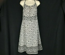 Ann Taylor LOFT 10 Ivory Black Sun Dress Floral Halter Boho Zipper Lined... - $19.28