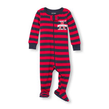 NWT The Childrens Place Boy Red Striped Footed Stretchie Pajamas Sleeper - $7.99
