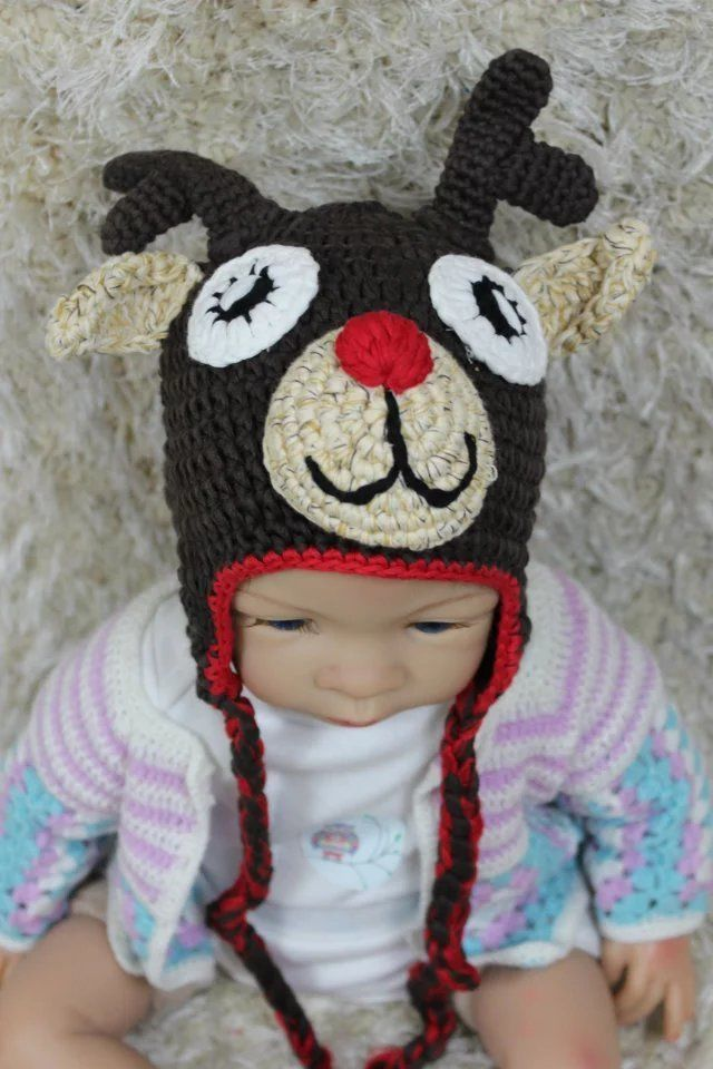 71ac6d8fc78 S l1600. S l1600. Previous. New Knit Crochet Newborn Baby Child Kids  Reindeer Elk Deer Hat Cap Beanie Gifts
