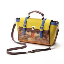 Lovely Women Fashion Handbag Bag Vintage Big Tote Crossbody Printed Yell... - $38.69