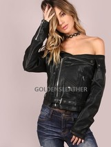 DESIGNER WOMEN BIKER LEATHER JACKET MOTORCYCLE JACKET RACER LEATHER JACK... - $131.20