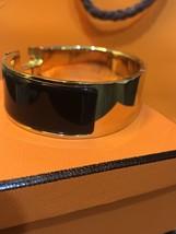 Authentic HERMES Clic Clac Wide Bracelet H BLACK GOLD HW SZ M Bangle  image 5