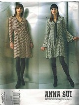 2820 Uncut Vogue Muster Misses Anna Sui Close Fassung A-Linie Kleid Sew - $24.96