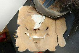 "Vintage Asian Tribal Mask Hand Carved Wood Wall Art East Java Indonesia 41x11"" image 8"
