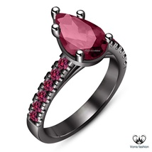 Pear Shape Pink Sapphire Black Gold Plated 925 Silver Solitaire W/ Accen... - $86.99