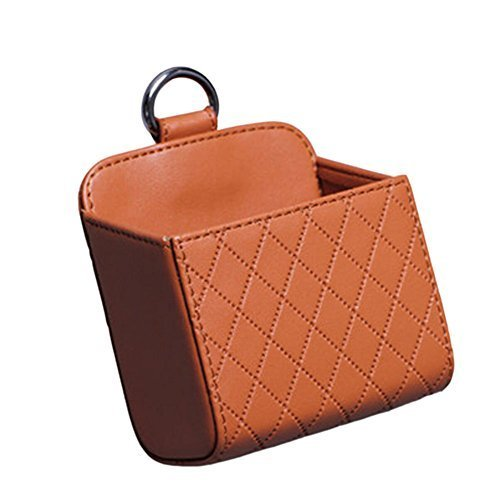Fashion Brown PU Leather Square Car Cup Holder,Auto Storage Bucket,3.53.3''