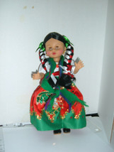 "Collectible 12"" Mexican doll, Traditional Dress with sleepy eyes Plastic. - $16.58"