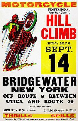 Primary image for 1958 - Bridgewater NY - Motorcycle Hill Climb - Promotional Advertising Poster