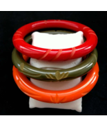 40s-50s Art Deco LOT of 3 Carved Domed Genuine Bakelite Orange Green Red... - $220.00