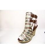 MUK LUKS Women's Sage Peep Toe Wedge Sandal  Sandals Brown/Green Size US 10 - $42.56
