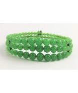 ESTATE VINTAGE Jewelry GREEN GRADUATED GLASS BEAD TRIPLE ROW COIL BRACELET - $40.00