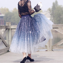 Sequined Tulle Midi Skirt Outfit Navy Gold Sparkly Midi Bridesmaid Skirt Custom image 5