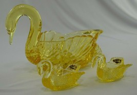 Cambridge Glass Mandarin Gold Swan #1043 & 2 Small Swan #1040 1949-1958 ... - $59.40