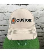 Custom Mens One Sz Hat Beige Plaid Adjustable Baseball Cap 100% Cotton - $14.84