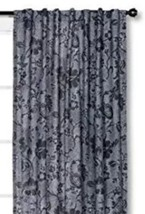 1 Threshold Gray Dot Jacobean Floral  Cotton Curtain Window Panel 54 x 95 New - $17.99