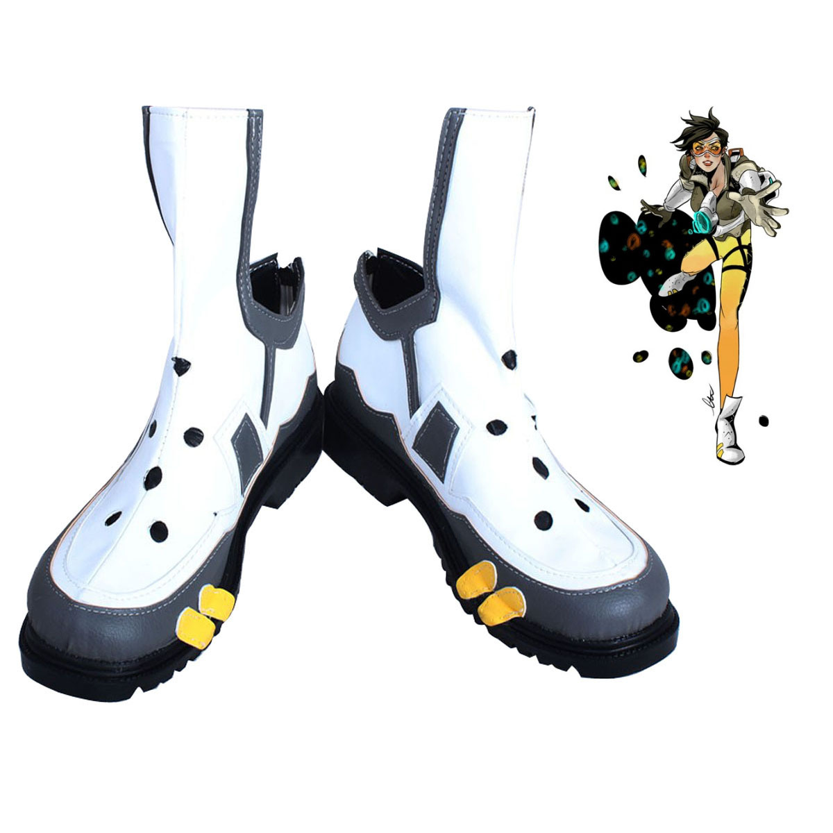 Overwatch OW D.VA Cosplay Tracer Lina White Boots Unisex Shoes