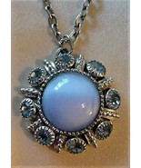 Vintage AVON Pendant Blue Center Stone on Chain - $24.70