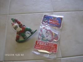 1986 Keebler ELf Ornament(NIP)  2001 Snowboarding Sangta 7UP ornament Ch... - $3.99