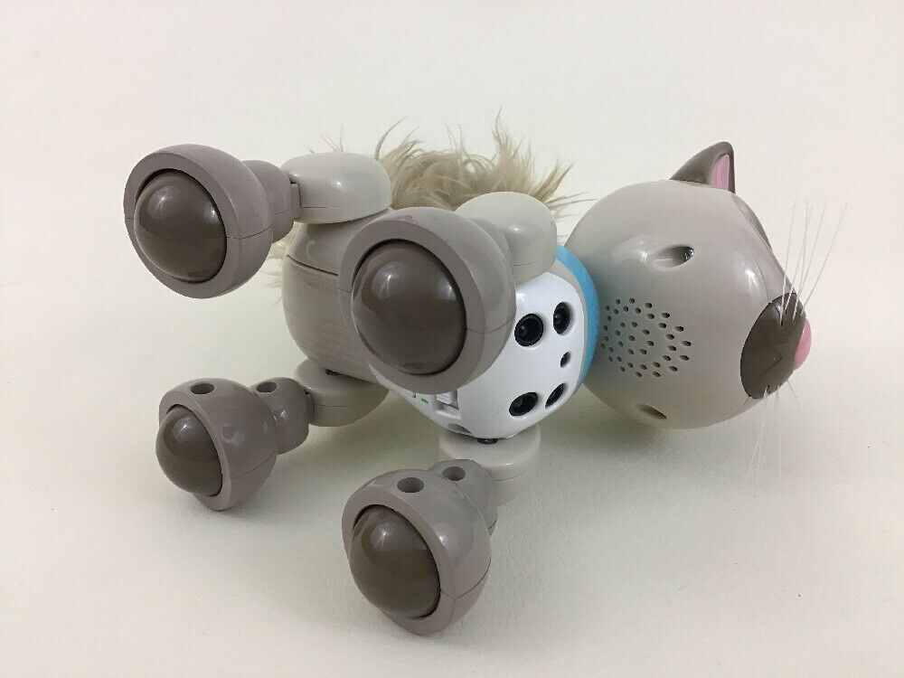 Zoomer Meowzies Interactive Robot Gray Brown Cat Toy Spin Master 2016