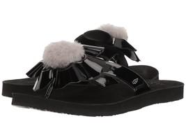 UGG® Poppy Sheepskin Pom Pom Thong Sandals, 1090489 Black Multi Sizes Au... - $39.96