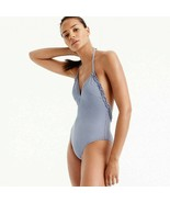 NWT J.Crew Ruffle halter one-piece swimsuit in tiny gingham $110 Blue 10... - $52.00