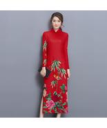 pf202 Sexyenhanced Chinese Cheongsam W BAMBOO printing,Size m-3xl, red - $18.80+