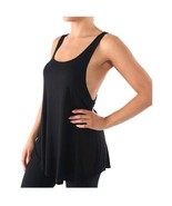 Womens Black Wide Arm Workout Fitness Gym Stretchy Lounge Solid Tank Top... - $16.97