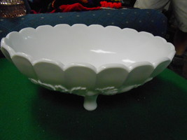 """Great Vintage Indiana Glass...Milk Glass """"Della Robbia"""" Oval Footed Bowl....Sale - $6.24"""