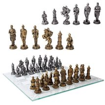 Medieval Knight War Chess Pieces and Glass Board Games and Toys - $61.38