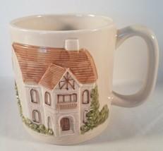 Otagiri 3D Embossed Handpainted Ceramic Coffee Mug Cottage Scene 1980 - $18.80