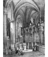FRANCE Interior of Caudebec Cathedral - SUPERB 1843 Antique Print - $30.60