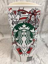 Starbucks Siren Christmas Hearts Red Green Ceramic Travel Mug Tumbler Ne... - $18.70