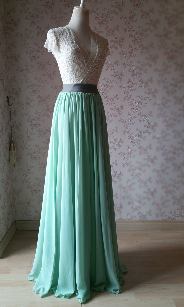 Sage green chiffon maxi skirt 2 780