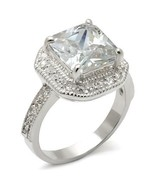 Princess Cut Clear CZ Engagement Ring April Birthstone .925 Sterling Silver - $32.00