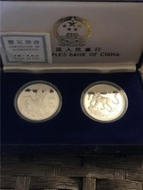 1992 2pc Proofs China 'White Storks & Snow Leopard' .925 10 yuan Set - $186.87