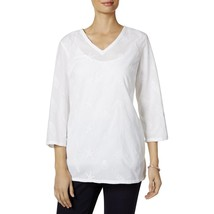 Charter Club Womens Cotton Shells and Starfished Embroidered Tunic Top, Large - $33.65
