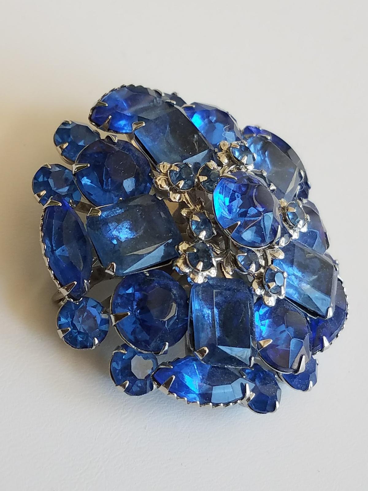 Vintage Blue Rhinestone Brooch, Domed Brooch, Silver Tone Metal, Vintage Pin
