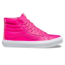 VANS Sk8 Hi Slim (Neon Leather) Neon Pink/True White WOMEN'S Skate Shoes 7 - $54.95