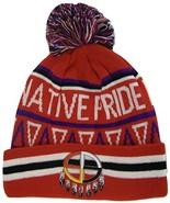 Native Pride Medicine Wheel Cuffed Knit Winter Hat Pom Beanie (Red) - $12.95