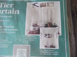 """Tier Curtain Color Ecru One Pair Size 66""""*24""""  70% Polyester 30% Cotton. - $7.99"""