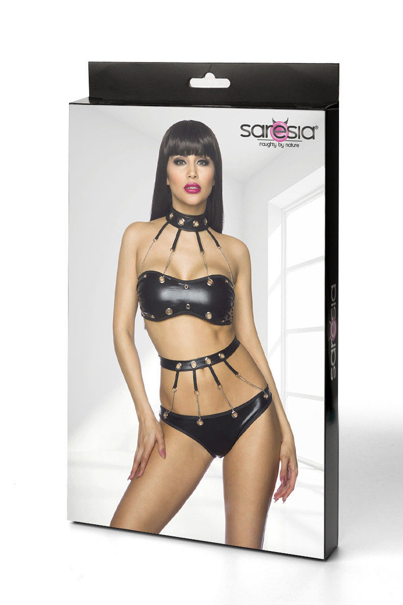 Wetlook Set GOGO TOP COLLAR Panties Chains Ladies Lingerie Black Lingerie 34-40 image 7