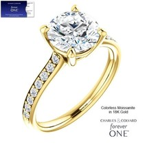 18K GOLD 2.35 carat (8mm) Round Moissanite Forever One Ring (Charles & C... - $1,695.00
