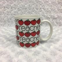 Teacher Gift Coffee Mug with Apples Vintage 1986 Chris Davenport Enesco - $15.88