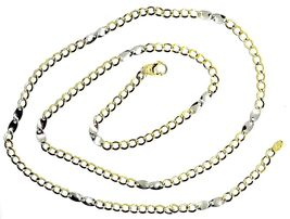 18K YELLOW WHITE GOLD CHAIN 3 MM, 19.7 INCHES, ALTERNATE GOURMETTE AND OVALS image 3