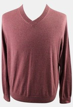 NEW Saks Fifth Avenue BLACK V-Neck Wool Pullover Sweater MENS LARGE Maroon - $34.99