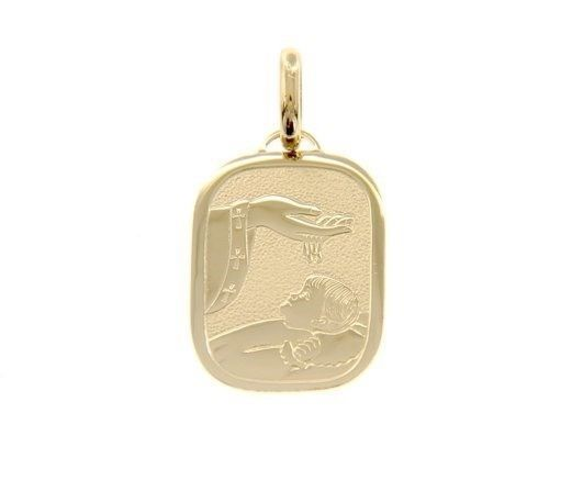 18K YELLOW GOLD PENDANT RECTANGULAR REMEMBRANCE OF BAPTISM ENGRAVABLE ITALY MADE