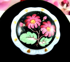 PINK FLOWERS on Black BROOCH Vintage Pin Handmade Porcelain BAVARIA Crest - $14.99