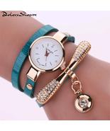 Thin belt fashion ladies watch Casual three-ring winding bracelet watch ... - $34.38