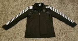 Adidas Black White Track Jacket Youth XL (14-16) Full Zip Striped Windbr... - $19.35